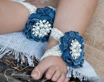 Denim Barefoot Sandals/Barefoot Sandals/Baby Barefoot Sandals/Newborn Sandals/Baby Shoes/Photo Prop/Barefoot Sandals/Baby Shower Gift