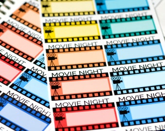 16 Movie Night Stickers for your Erin Condren Life Planner