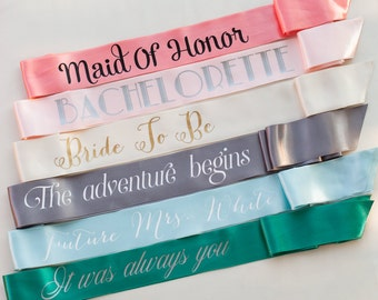 Custom Bachelorette Sash Set of 6 - Bride To Be Sashes - with gold, black, white, pink, teal/turquoise text