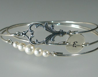 Wedding Jewelry Bangle Bracelet Set, Personalized Wedding, Pearl Silver Bracelet, Bridesmaid Gift, Bridesmaid Jewelry, Art Nouveau (S241S,)