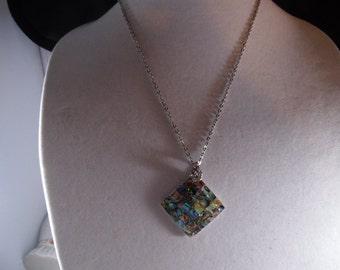 Mosaic Abalone Shell Pendant Necklace Silver Tone.
