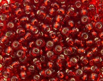 TOHO Seed Bead 8/0 ~ Silver-Lined Ruby ~ 8 Grams (TR-08-25C) J-7