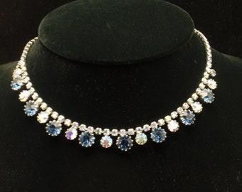 Weiss Rhinestone Necklace Blue and AB Aurura Borealis Stones Vintage