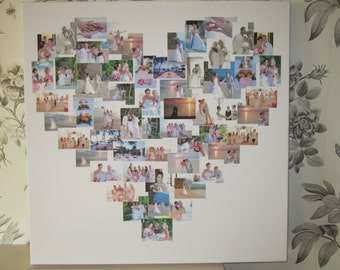 """Photo canvas collage in a heart 16 x 16"""""""