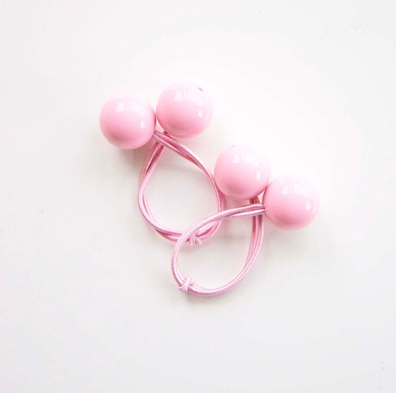 Hair ties. Elastic hair ties. Funky. Pink. Retro style hair bobbles. Bubble Gum hair ties.