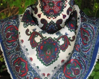 Vintage navy white burgundy red paisley woolen square scarf
