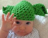 Hand Crochet Yoda Baby Hat, Infant Halloween Costume or Christmas Gift or Baby Shower Gift