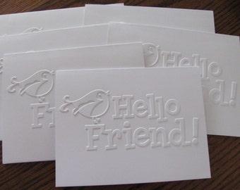 Embossed Hello Friend Cards, Embossed Note Cards, Greeting Cards, Birds, Friend Note Card, Stationery Set, Hello Card Set, Embossed Card Set