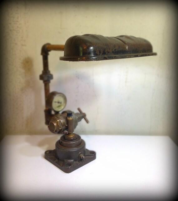 Found Object Steampunk Light Sculpture Double Light Bulb