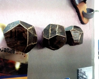 wood magnets for fridge, EXTRA LARGE FACETED magnets , wood trunk, 3pcs