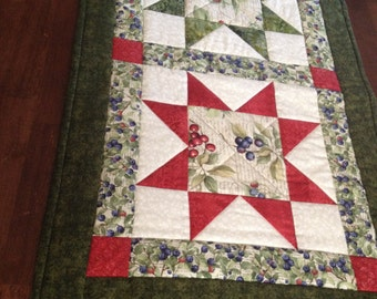 Quilted Blueberry Table Runner