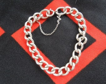 "Sterling Bracelet Heavy Large Link 7  3/4"" Sterling Silver Charm Bracelet With Safety Chain from Charmhuntress 02094"