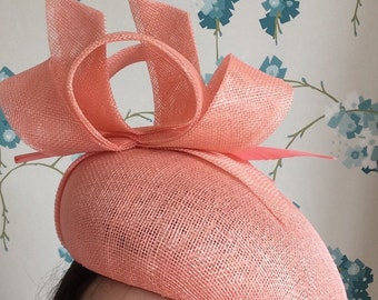 Coral  Fascinator Beret Hatinator with Feather Arrow
