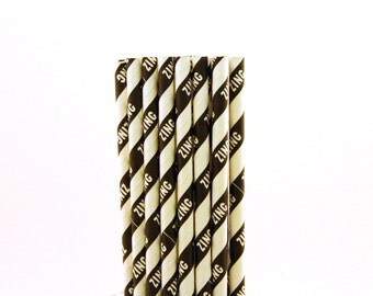 Black Striped Zing Paper Straws-Black Paper Straws-Zing Paper Straws-Karate Birthday Party Straws-Striped Straws-Mason Jar Straws-