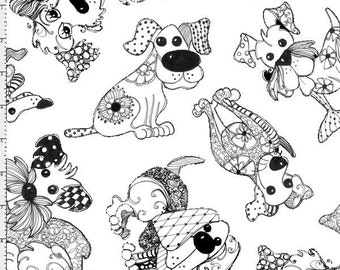 Loralie Designs - Doodle Dogs White Fabric