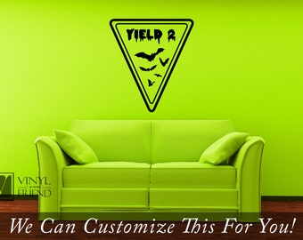 Yield 2 bats Halloween vinyl decal sign for your homes decor 2208