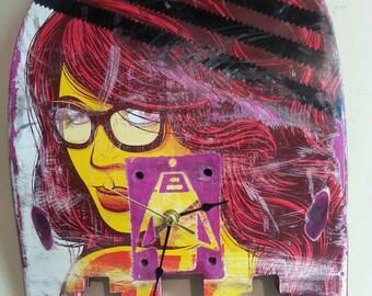 Recycled Skateboard Clock Nerd/Trendy Girl PacMan Ghost Shape Handmade