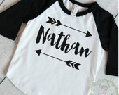 Baby Boy Clothes Personalized Name Shirt Hipster Baby Clothes Arrow Custom Toddler Raglan Shirt Personalized Baby Boy Clothing 086