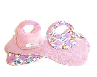 Bibs and burp cloths, baby shower gift, animal nursery, pink baby gift, baby girl burpies, contour burp cloths, baby girl bibs, newborn gift