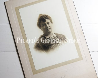 Antique Victorian Photograph Older woman beautifully dressed in cardboard frame Early 1900's St Louis, Missouri