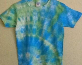 Childrens small blue/green tie dye shirt