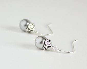 Gray Earrings, Light Grey Pearl Earrings, Women Jewelry, Classic Earrings, Sterling Silver Earwires