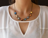 Solar System Necklace, Planet necklace, Galaxy necklace