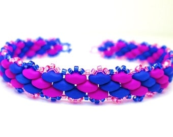 Neon pink and blue superduo bracelet, stripey friendship bracelet, skinny bracelet, stripes super duo bracelet, surf jewelry, BR021