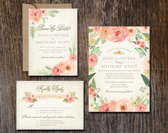 Wedding Invitation and Suite, Rustic Watercolor Floral. This listing is for the customized printable files only.