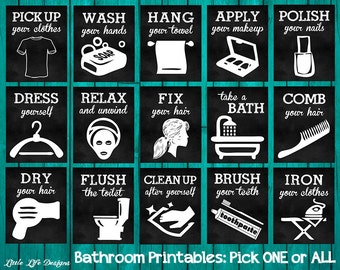 Bathroom Wall Art. Bathroom Wall Decor. Funny Bathroom Signs. Brush Your Teeth, Wash Your Hands, Take a Bath. Kids Bathroom. Bathroom Rules.