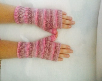 Pretty in Pink Crocheted Fingerless Texting Gloves