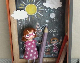 """gribouilleuse"" box, ORIGINAL illustration ""Gribouilleuse"" ANATOPIK, OOAK doll clothes"