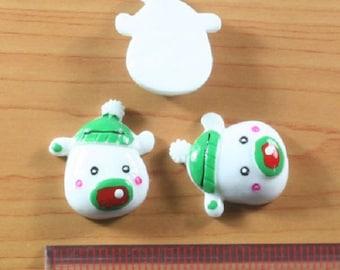 2 pc Christmas Polar Bear wearing Green Hat Resin Flat back Cabochon Hair Bow Center