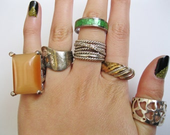 SALE Lot of 6 Large Costume Rings