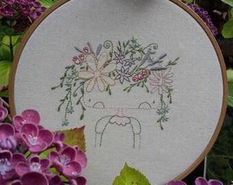 Flower Girl (Instant download Stitchery pattern pdf)