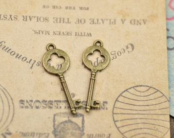 DIY  jewelry 40pcs  antiqued bronze gold or silver hollow out  key charm pendant 14x40mm