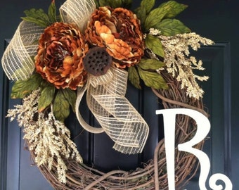 Fall Wreaths - Deco Mesh Wreath - Brown Orange Fall Peony - Monogrammed - Personalized - Housewarming Gift - Fall Decor - Monogram Wreaths