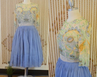 1950s 50s Vintage Periwinkle Blue Beaded Floral Party Dress - Small