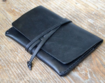 Black leather passport holder cover, travel wallet, cash card holder, hand stitched, for men & women
