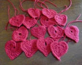 Sweeetheart embellishment, crochet hearts red, Bakers Dozen.