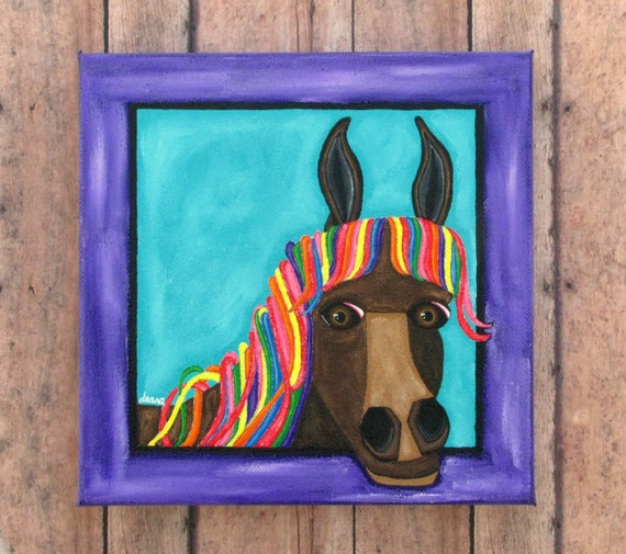 Western Decor Paint: Rainbow Mane Horse Canvas Wall Art Original Painting Whimsical