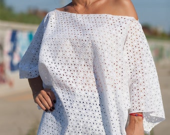 Plus Size White Shirt/ Cotton Lace Maxi Top /Extravagant Shirt/ Loose Shirt /Oversize Blouse
