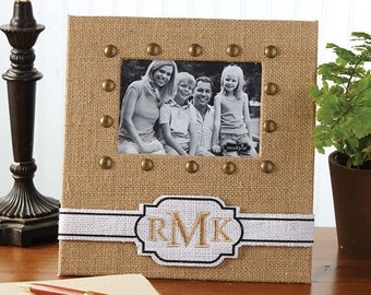 NEW!!! Mud Pie Personalized Burlap Picture Frame