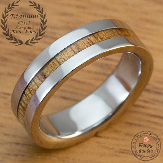 titanium ring with thin strip hawaiian koa wood by happylaulea. Black Bedroom Furniture Sets. Home Design Ideas