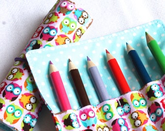 Mini Crayon Roll or Pencil Roll - 'Baby Owls' - perfect girls party favor - pink, lime, turquoise