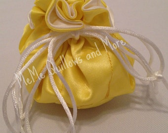 Yellow Satin Travel Jewelry Bag