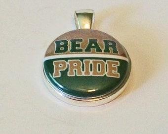Unique Green and Gold Bear Pride Round Silver Pendant