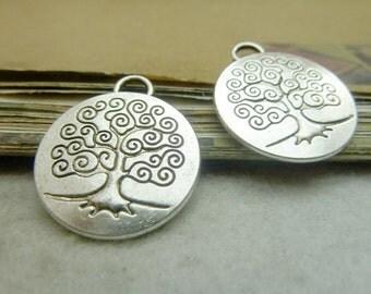 10pcs 23x27mm Antique Silver Tree Charms Pendants