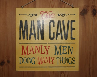 Man Cave Manly Men Doing Manly Things wooden wall sign plaque funny humorous