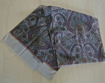 1980s Roger Laurent Silk Scarf Paisley Print Made in Paris Designer Scarf